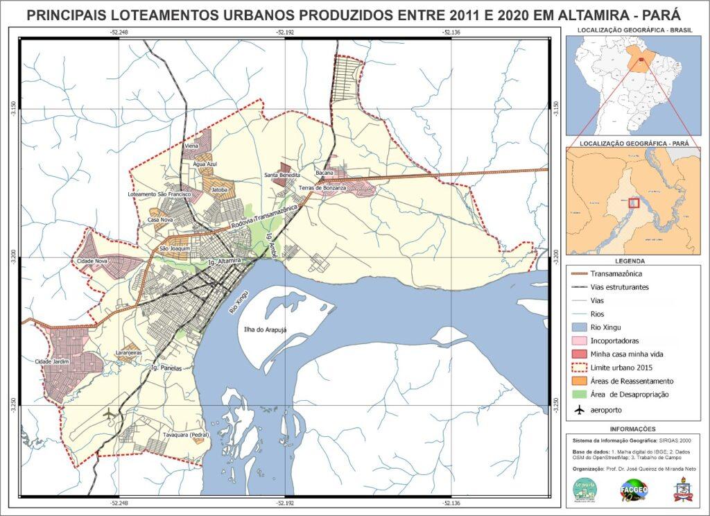 Mapa com os principais loteamentos urbanos em Altamira