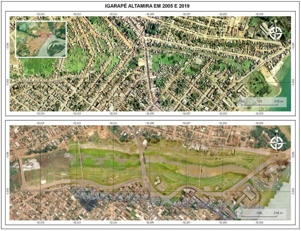 Imagem aérea compara Altamira em 2005 e 2019. Na primeira imagem de 2019, há muitas construções. Na segunda de 2005, aparecem mais áreas verdes e vazias.