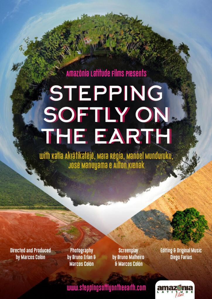 Capa do documentário Pisar Suavemente na Terra. Um globo verde encapsula o título do livro. Ao redor e ao fundo, terras sem árvores